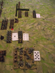 The Roman left hand command moves forward